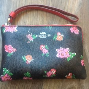 Coach Bags - Coach Floral Corner Zip Wristlet